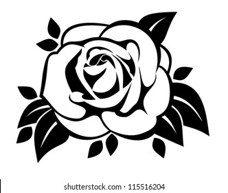 Black silhouette of rose with leaves. Vector illustration.