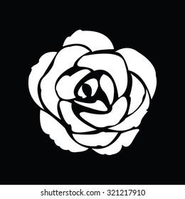 Black silhouette of rose. Vector illustration.