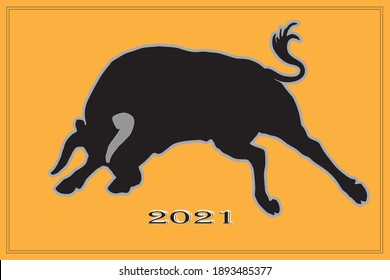 black silhouette of a running bull on an orange background for stickers and decoration