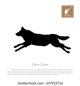 Black silhouette of a running wolf on a white background. Forest animals. Vector illustration