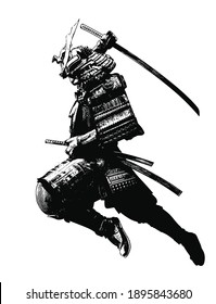 The black silhouette of a samurai flying into battle in an epic leap, he prepares to deliver a crushing attack with his katana. 2d illustration.