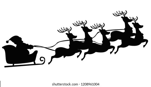 Black silhouette Santa flying in a sleigh with reindeer. Isolated object. Christmas. New Year. Vector illustration EPS10