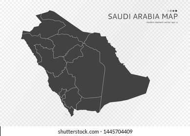 Black silhouette of Saudi Arabia map on transparent background. EPS10 vector file organized in layers for easy editing.