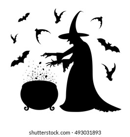 Black silhouette of a scary  witch who  cooks a potion in a cauldron. Happy Halloween poster.