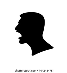 Black Silhouette of a Screaming Man, head close-up in profile. Evil emotional facial expressions of conflict or protest, flat portrait, avatar, icon, symbol. Human with an open mouth. Isolated Vector