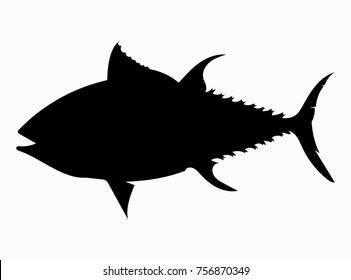 Black silhouette of sea fish. Seafood outline. Silhouette of tuna.