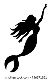 black silhouette of sea mermaid