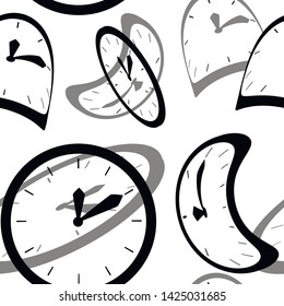 Black silhouette. Seamless pattern. Clock faces with pointers. Deformed and distorted clock face. Flat vector illustration on white background