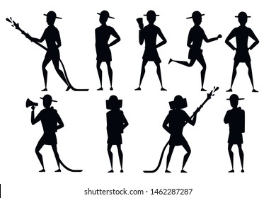 Black silhouette set of adult male firefighter stand on ground wearing fireproof form cartoon character design flat vector illustration