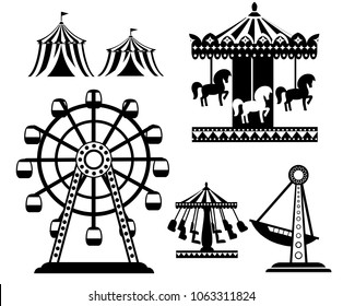Black silhouette. Set of carnival circus icons. Amusement park collection. Tent, carousel, ferris wheel, pirate ship. Cartoon style design. Vector illustration isolated on white background.