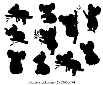 Black silhouette set of cute grey koala bear in different poses eating sleeping leaves cartoon animal design flat vector illustration isolated on white background