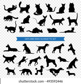 Black silhouette set of different breeds of dogs and cats on transparent background isolated vector illustration
