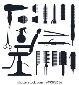 Black silhouette set of hairdresser objects isolated on white background. Hair salon equipment and tools logo icons, hairdryer, comb, scissors, hairclipper, curling, hair straightener for barbershop