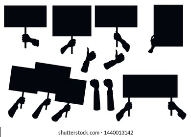 Black silhouette set of hands holding empty protest sign, placard template flat vector illustration isolated on white background