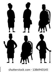Black silhouette. Set of Senior Woman in casual clothes. Old women in different situations. Grandmother standing. Cartoon character design. Flat vector illustration isolated on white background.
