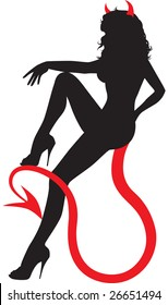 Black silhouette of sexy devil woman sitting on her own tail.