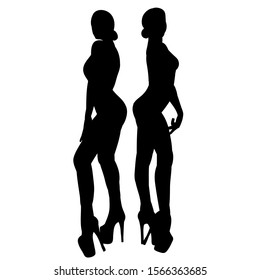 black silhouette of a sexy girl