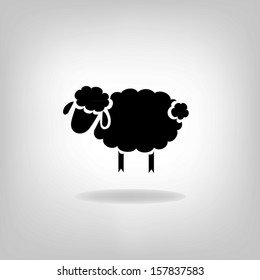 Black silhouette of sheep on a light background. Logo design for the company.