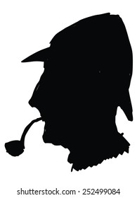 black silhouette of Sherlock Holmes