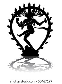 black silhouette of Shiva on a white background
