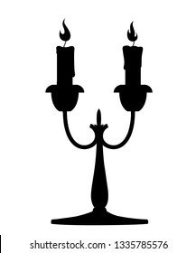 Black silhouette. Silver candelabrum with burning red candle. Flat vector illustration on white background. Home decor furniture. Candelabra with two branches.