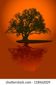 Black silhouette of single beautiful big oak tree with reflection on sunset. Vector.