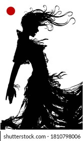 The black silhouette of a sinister vampinar woman, in a torn dress, stands in profile and bares her sharp teeth. 2D illustration.