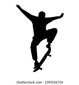 Black silhouette of skateboarder isolated on white background. Skateboard guy. Skateboarding trick ollie. Jump on skateboard.