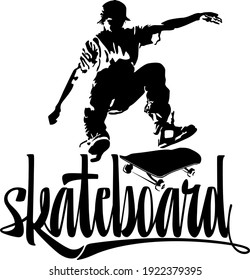 Black silhouette of a skateboarder on a white background, skateboard logo.