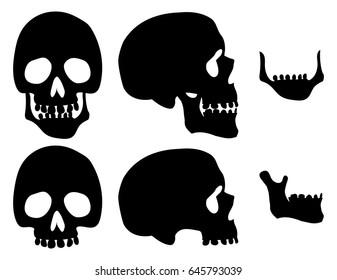 Black silhouette skull set. Vector design template