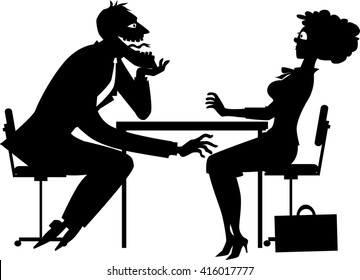 Black silhouette of a sleazy businessman harassing a shocked female colleague, EPS8 vector illustration, no white objects