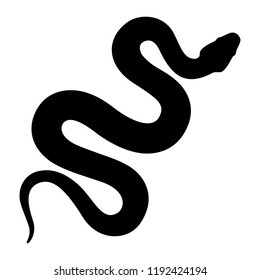 Black silhouette snake. Isolated symbol or icon snake on white background. Abstract sign snake. Vector illustration