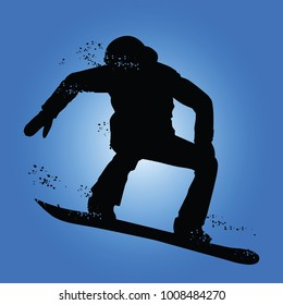 Black silhouette of snowboarder iolated on blue background. Vector illustrations.