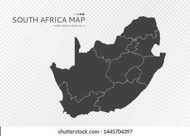 Black silhouette of South Africa map on transparent background. EPS10 vector file organized in layers for easy editing.