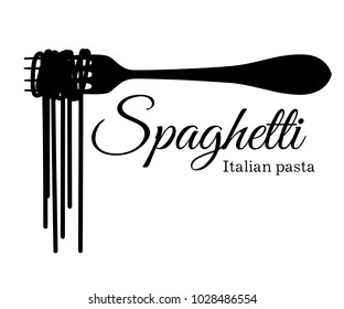 Black silhouette of spaghetti on a fork with an inscription vector illustration isolated on white background web site page and mobile app design.