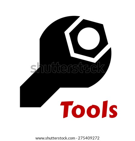 Black Silhouette Spanner Wrench Tool Around Stock Vector Royalty