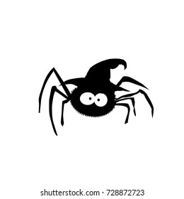 Black silhouette of spider in witch hat isolated on white background.Vector illustration.