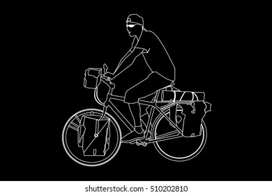 Black silhouette Sport man ridding bicycle isolate on black background