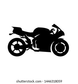 black silhouette  of sport motorcycle on white background