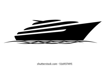 Black silhouette of a sports and a lot of expensive motor deck yacht floating on the waves in the sea or ocean. Vector yacht icon