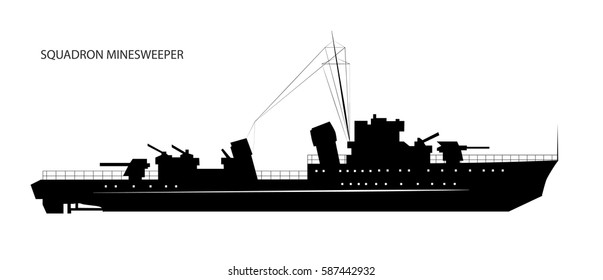 Black silhouette of squadron minesweeper or military boat