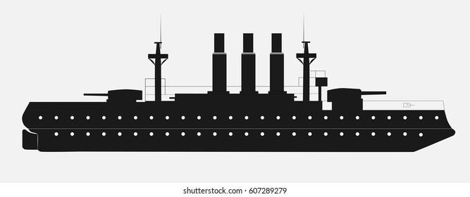 Black silhouette of squadron minesweeper or military boat. Vector illustration