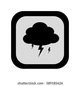 black silhouette square frame with rain storm weather icon