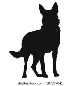 A black silhouette of a standing German Shepherd