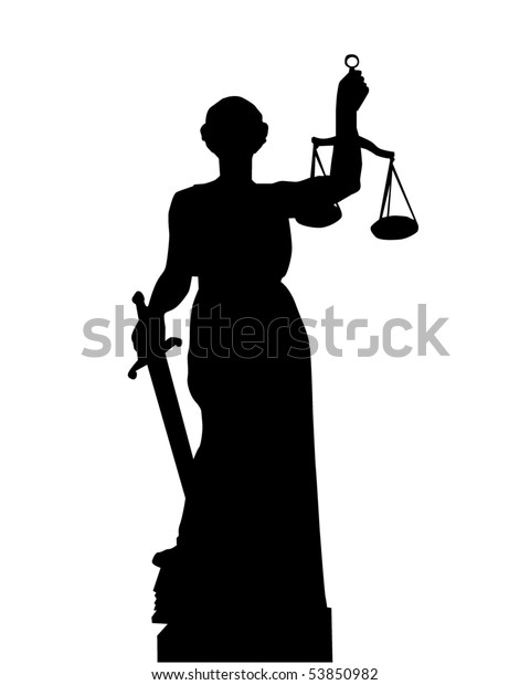 Black silhouette of a statue of a Themis on a white background