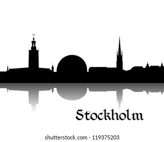 Black silhouette of Stockholm the capital of Sweden