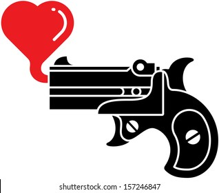 Black silhouette of a stylish black pistol which is blowing a red bubble heart instead of shooting bullets