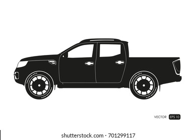 Black silhouette of SUV. Drawing of car on a white background. Side view of pickup. Vector illustration