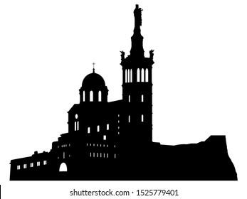 Black Silhouette of Symbol of Marseille - Notre-Dame de la Garde
