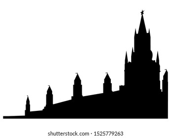 Black Silhouette of Symbol of Moscow - Kremlin